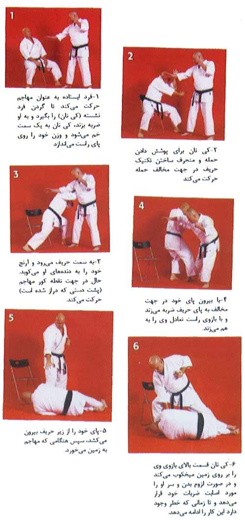دفاع نشسته در برابر تکنیک گرفتن گردن و ضربه : ذن دوکای/ گوجو- ریو کاراته
